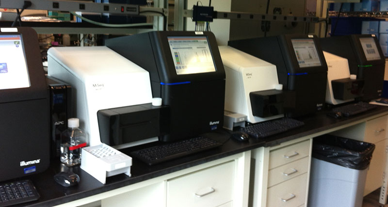 A row of Illumina MiSeq machines from the former Courtagen that sequence DNA